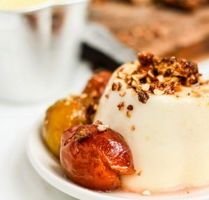 White Chocolate Panna Cotta with Poached Plum