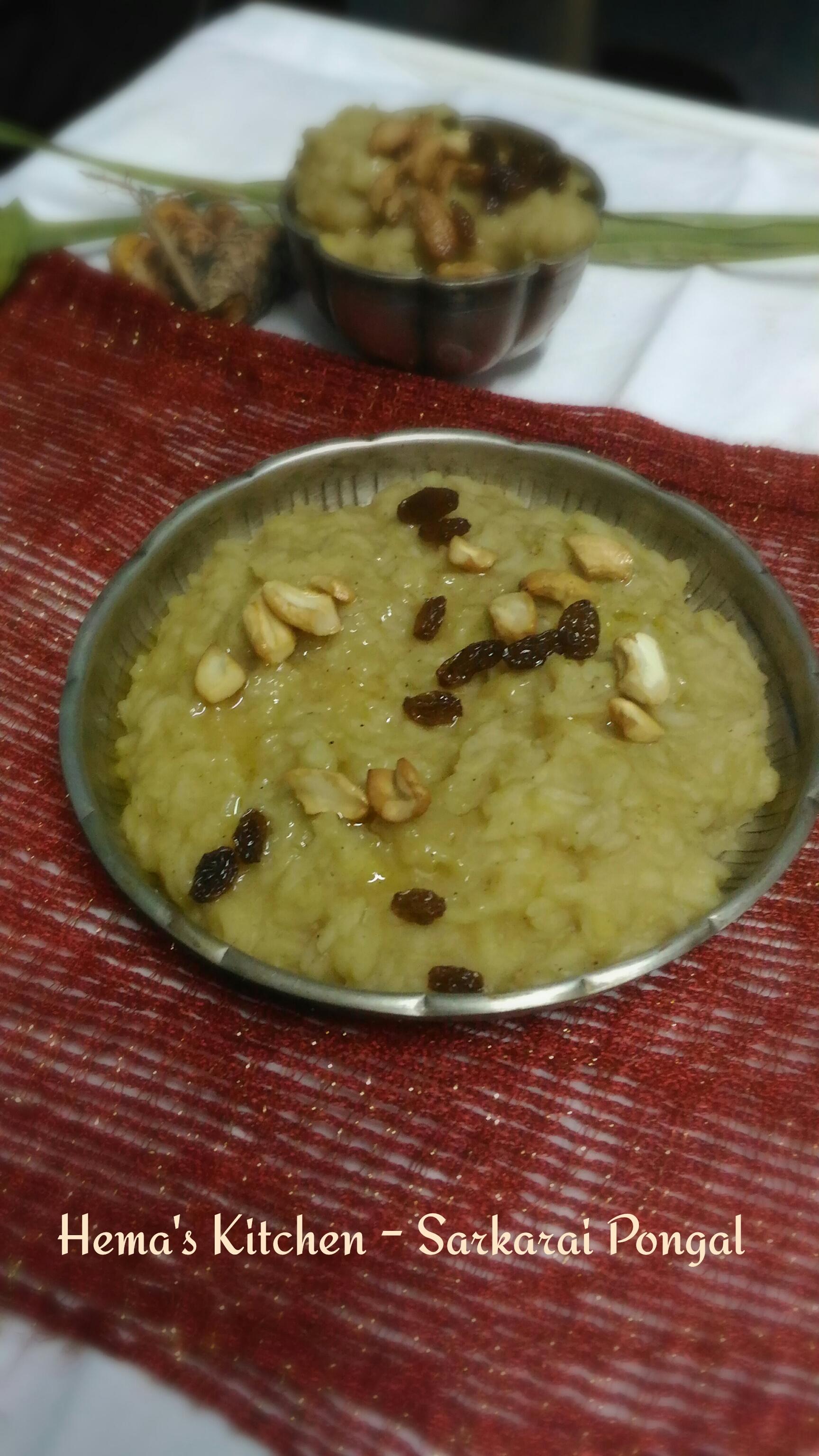 sarkkarai pongal or sweet pongal with milk hema s kitchen