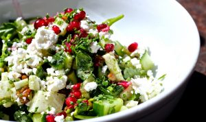Cucumber & Pomegranate Salad with Chickpeas, garlic, basil and olive oil