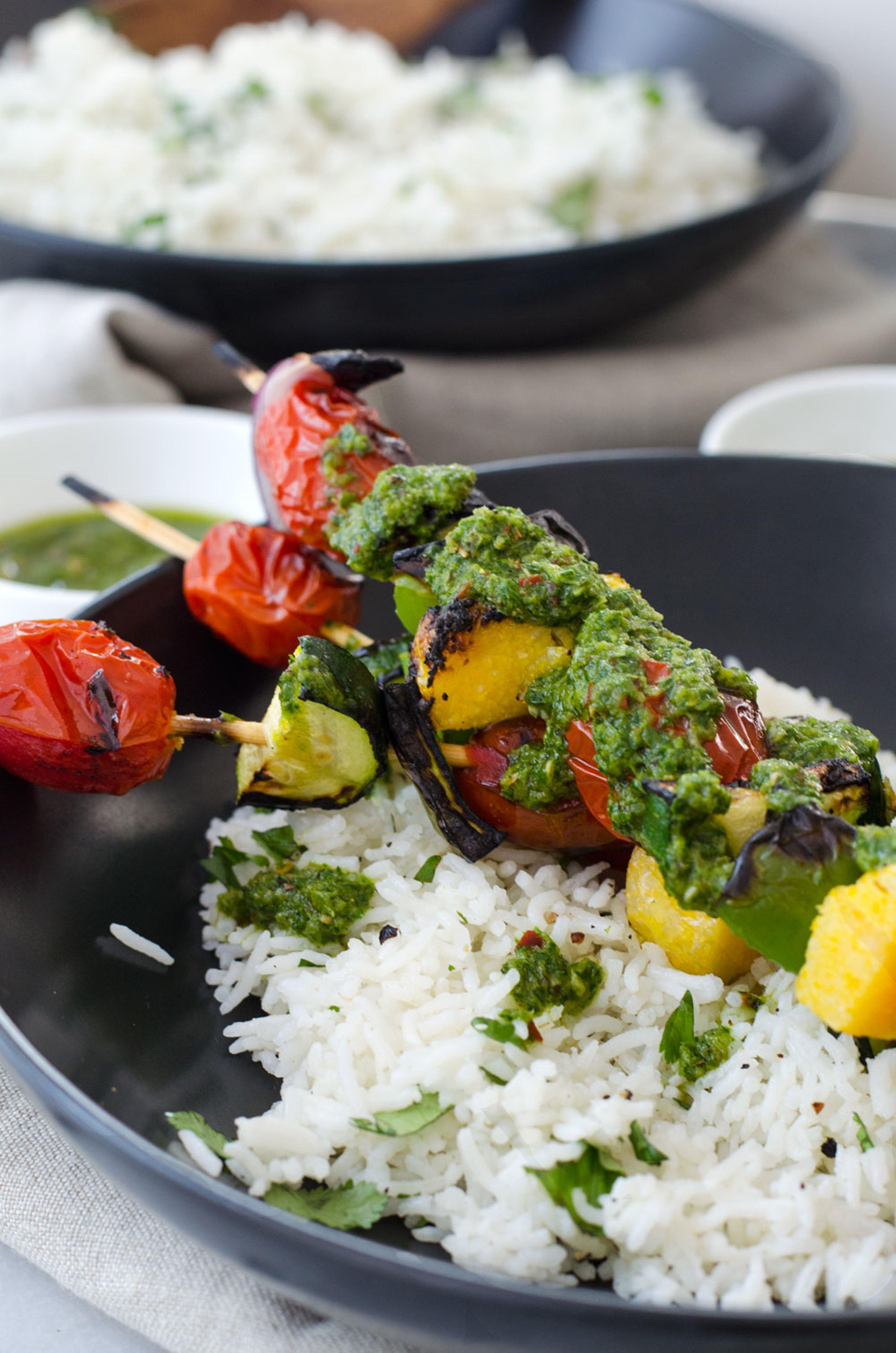 herb-rice-with-vegetable-skewers