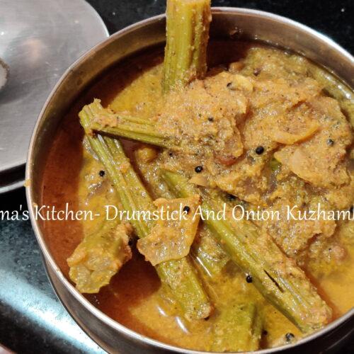 Drumstick and onion kuzhambu