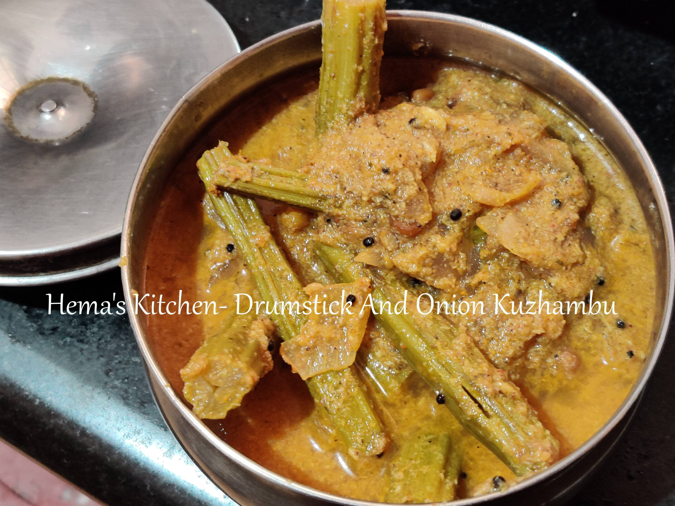Drumstick and onion kuzhambu